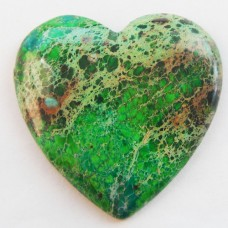 KA-43 Green Sea Sediment Jasper Heart CAB (35x34x5mm)