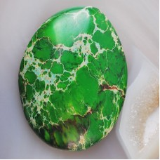 KA-64  Green Sea Sediment Jasper CAB (34x25mm),1 vnt.
